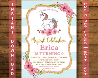 Unicorn Invitation, Unicorn Birthday Invitation, INSTANT DOWNLOAD, Magical Birthday Invitation, Floral Unicorn Invitation, Unicorn Party