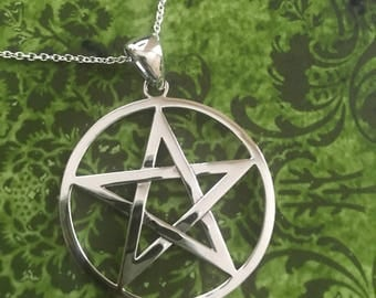 Large Pentacle Necklace - Sterling Silver