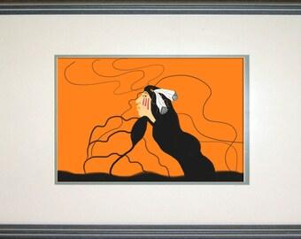 Long Hair Clan, Orange, Custom, Art print , Canvas, Original, Digital, Art, Painting, Native American Seven Clans,Cherokee,