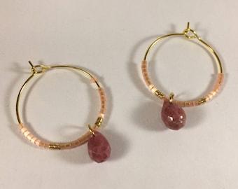 Hoop earrings Golden miuky and rhodonite