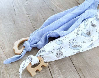 "Double Gauze Muslin lovey blanket/security blanket or burpcloth 24""x24""  or 17""x17"" personalized lovey/ monogrammed lovey"