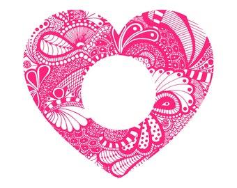 Digi-tizers Zentangle Heart Monogram frame (SVG Studio V3 JPG) **Full circle alphabet letters INCLUDED!**