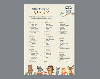 Whats in Your Purse, Woodland Baby Shower Games Printable, Forest Animals, Tree Birch, Purse Raid, Purse Hunt, What's In Your Bag, B009