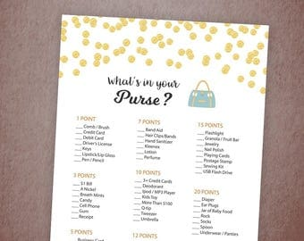 Whats in Your Purse, Baby Shower Games Printable, Gold Polka Dots, Confetti, Purse Raid, Purse Hunt, What's In Your Bag, Download, B001