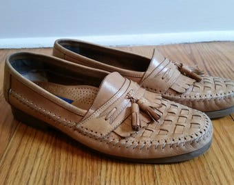 tassel loafers leather loafer penny loafer, woven loafers camel brown braided loafers 1980s tasseled dress shoe mens 9 D