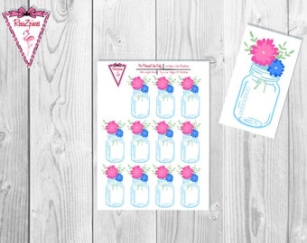 Printable Floral Mason Jar Checklists - Functional Stickers w/Cut Line