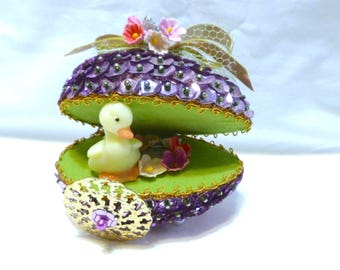 Vintage Easter Panorama Ornament Jeweled Bead Sequin Duck Pond Egg Cart Finished Walco Lee Ward Kit Diorama Forget-me-nots Completed Lilac