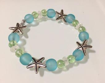 Silver Starfish Charm Stretch Bracelet