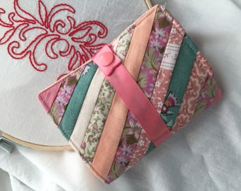 Quilted, Pieced Needle book with 100% wool felt pages for sewing kit, needle storage, needle keeper