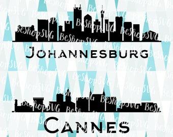 Cannes city SVG, Johannesburg city SVG, Cities SVG, South Africa Svg, France Svg, Instant download, Eps - Dxf - Png - Svg