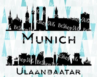 Munich City SVG, Ulaanbaatar SVG, Cities SVG, Mongolia Svg, Germany Svg, Instant download, Eps - Dxf - Png - Svg