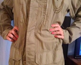Parka style khaki cotton military