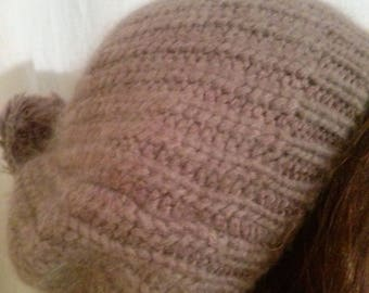 Hat knit in angora and acrylic color taupe