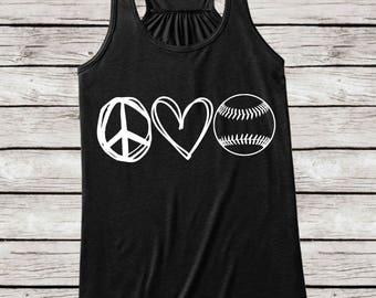 Peace Love Baseball Mom Tank, Sports Mom Baseball Tank