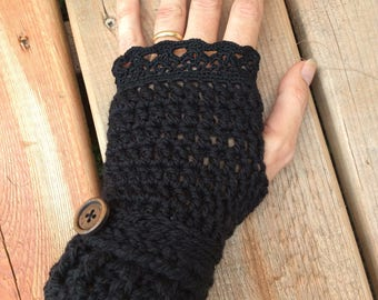 Crochet black wool fingerless gloves with black crocheted lace