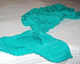 Children Hand Crocheted OceanTeal Green Crocheted Scales mermaid Tail Blanket, Kids Mermaid Blanket, Kids Fish Tail, Kids Blanket