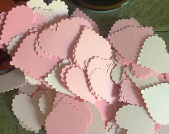 Pink Baby Shower Heart Confetti- Vintage Shabby Chic - Wedding confetti, Baby Girl Shower decoration, Pink table scatters