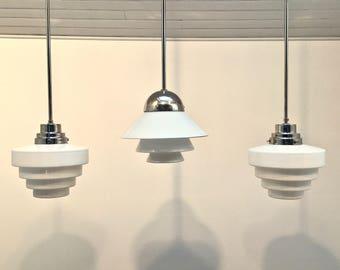 art deco opaline pendant lights