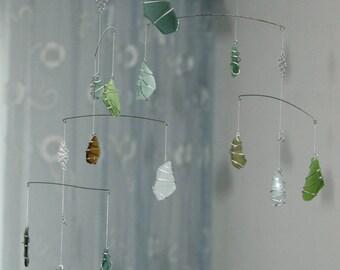 Sea glass Mobile / Beach Theme /home decor/ door wind chime glass garland