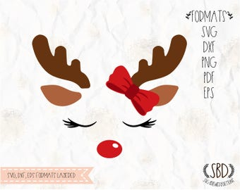 Christmas, Deer, Reindeer, Rudolph face nose lashes bow, SVG, PNG, DXF for cricut, silhouette studio,cut file, vinyl decal, t shirt design