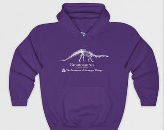 Dustin's Brontosaurus Hoodie - Stranger Things Parody Hoody - Funny Hoodie - Perfect Gift - Unisex, Mens, Ladies - S M L XL - Purple