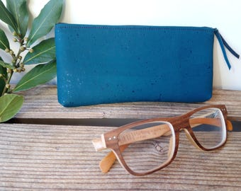 glasses case - vegan leather - Cork - cork - gift for her - gift for him - made in France - ecofriendly - polka - dot sewing