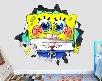 Spongebob Wall Art Etsy - Spongebob wall decals