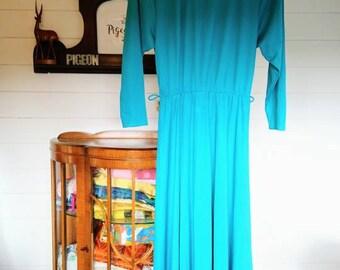 Vintage 1960s handmade turquoise turtleneck maxi dress