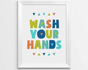 Printable Nursery Art, Wash Your Hands, Kids Bathroom Decor, Printable art, Wash hands sign, Printable Art, Kids Poster, Nursery Printable