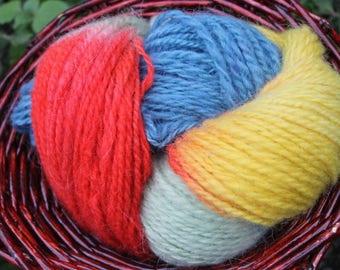 Pure wool yarn 100 grams 130 meters, handdyed handspun wool yarn