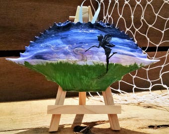 Fairy Decor, Fairy Art, Fairy Silhouette, Painted Blue Crab Shell Ornament from AmysLoveCraft