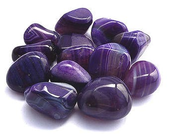 Purple Banded Agate Tumbled Stone | Enhanced Dyed Agate | Healing Stone | Feng Shui | Metaphysical Shop | Altar Stone | Dyed Purple Agate