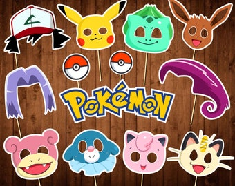 Pokemon Photo Booth Props - Printable PDF - Pokemon Party Props - INSTANT DOWNLOAD - Pokemon Birthday Decor