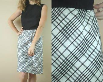 60s Black and White Metallic Plaid Sheath Dress