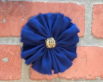 Royal Blue chiffon flower