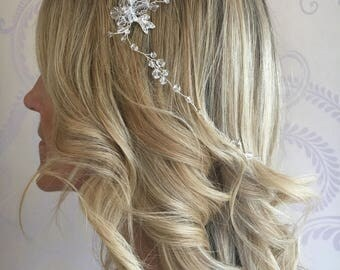 Bohemian Vintage Style Silver floral hair vine with hair pin, wedding/ prom/ party hair accessory