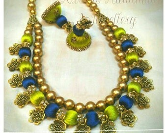 Leaf Green n blue Silk Thread flower set