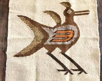 Vintage Wool Bird Wall Hanging