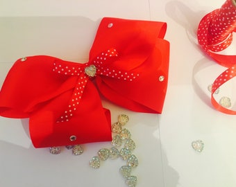Red Extra Large Hairbow with a clip