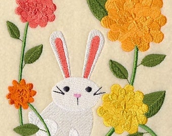 Bunny in Blossoms, Embroidered Tea Towel, Rabbit Dish Towel, Floral Kitchen Decoration, Bar Towel, Kitchen Accessory, Flowers