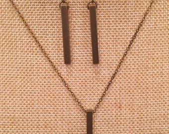 Long simple rectangle bar necklace and earrings set in antique bronze // Gift for her