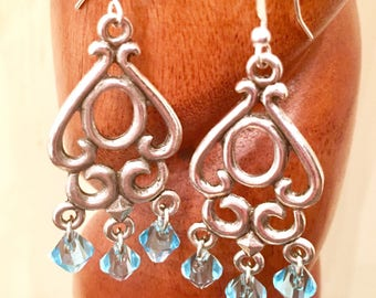 Beautiful antique silver chandelier earrings with aquamarine March birth stone Swarovski faceted crystal beads // Gift for her
