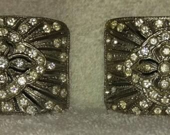 Vintage Holdfast Art Deco Rhinestone Shoe Clips