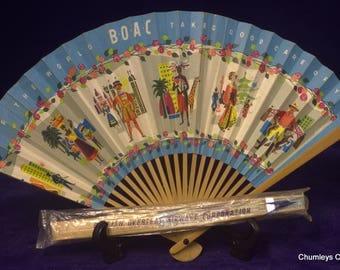 Pair of 50's B.O.A.C Speedbird Bamboo & Paper Fans – x 1 still in sealed packet