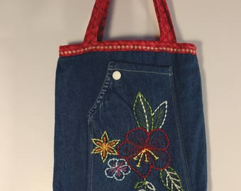 Embroidered Flowers Tote Bag Purse