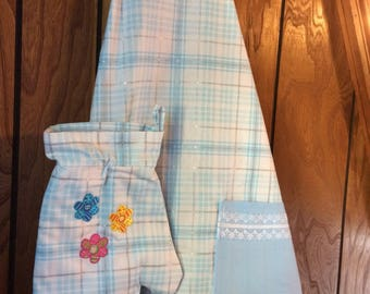 FREE Oven Mitt included!!Handmade Apron with Matching Oven Mitt