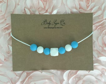Sky Blue and White, Silicone Toddler Teething/Chew Bead Necklace