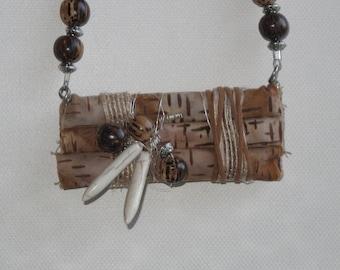 Brown Fiber Art Pendant