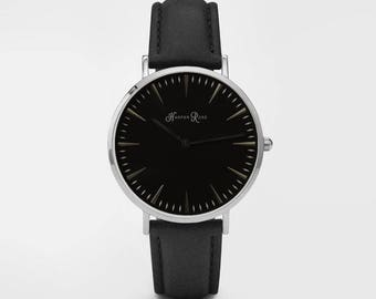 Ladies Watch, Women Leather bracelet, minimalist, gift for her, cheap leather watch, Christmas Watch, Black Leather (Silver/Black)