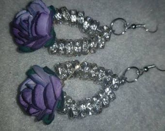 Lavender Paper Flower with Silver and Rhinestone Dangle Drop Earrings- The Bloom Collection